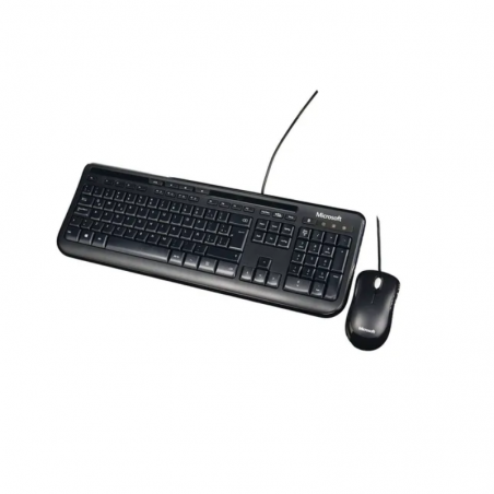 Kit Microsoft Teclado + Mouse Wired 600 negro, con cable USB
